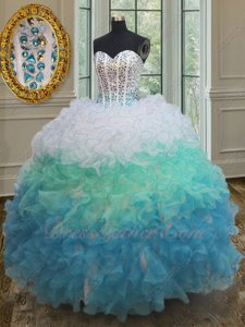 White/Mint Green/Sky Blue 3 Colors Layers Ball Gown Like Cakes Quinceanera Bustle