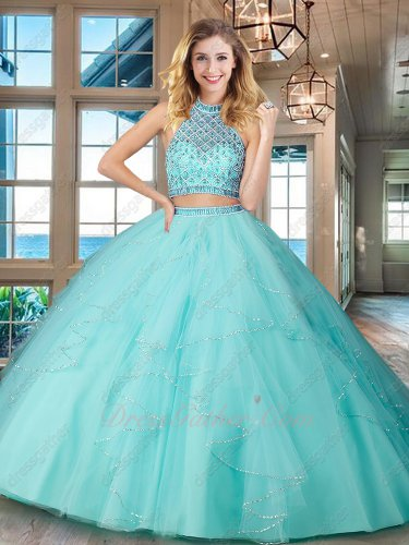 Ice Blue Two Pieces Show Belly Button Little Train Quinceanera Dress Boutique