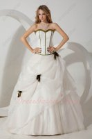 White Organza and Mesh Simple Quinceanera Dress With Olive Green Flowers