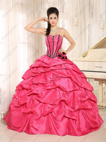 Full Taffeta Bubble Hot Pink Quinceanera Ball Gown Black Fishbone Lines Bodice