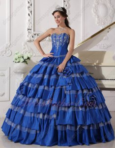 Contrast Stripes Cake Royal Blue/Off White Layers Design Ball Gown For Military