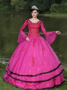 Detachable Trumpet Long Sleeves Fuchsia Quinceanera Ball Gown With Black Bordure