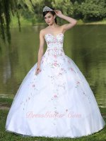 Pink Floral/Green Leaves Embroidery Pure White Quinceanera Sixteen Dress Brilliant
