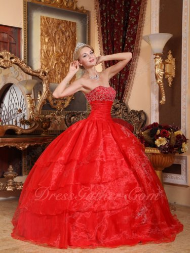 Bright Scarlet Organza Layers Skirt Fluffy Military Ball Gown With Silver Applique