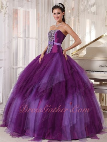 Strapless Mauve/Deep Lavender Contrast Color Military Prom Ball Gown