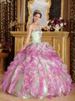 Mauve/Mint Green Mingled Ruffles Quinceanera Ball Gown Wholesale Manufacture