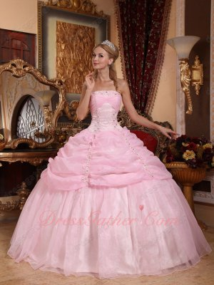 Lovable Half Bubble and Flat Organza Quinceanera Dress Girl Most Choice Color Baby Pink