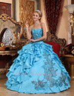 Shiny Sequin Applique Asymmetric Layers Slit Aqua Blue Quinceanera Autumn Ball Gown