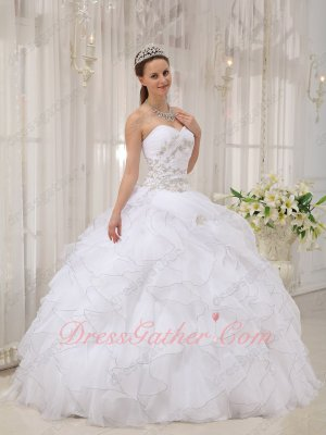 Quinceanera Ball Gown Very Puffy Pure White Organza Ruffles With Silver Curly Edge