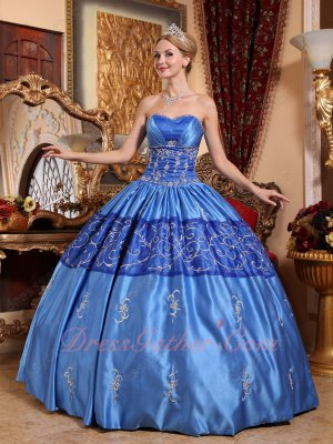Dust Rainy Sky Blue Embroidery Western Quince Court Gown Delight with Reminiscence