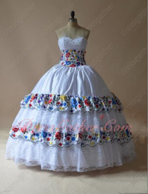 Colorful Embroidery and Lace Layers Skirt Princess Quinceanera Cake Ball Gown White