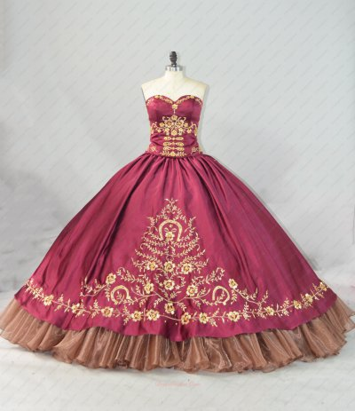 Golden Embroidery and Organza Wave Hemline Bugrundy Very Puffy Ball Gown Dress Western