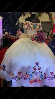White Western Quinceanera Gown Green Branches Colorful Flowers Embroidery With Bowknot