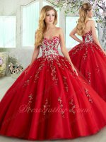 Red Flowers Green Branches Leaves Handmade Embroidery Quince Ball Gowns Exquisite