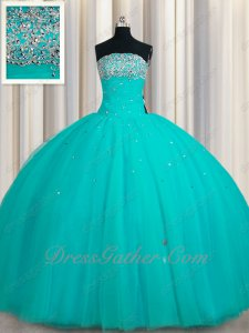 Turquoise Floor Length Layers Gauze Mesh Flat Puffy Ball Gown For Sweet 16 Party