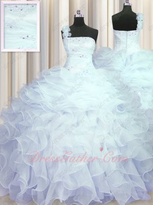 Single Right Shoulder Half Layers and Half Wave Ruffles Sweet 15 Ball Gown Ceremony