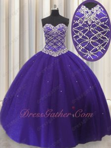 Detachable Bright Purple Elegant Ball Gown With Knee Length Skirt Three Pieces