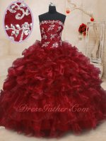 Latin America Girls' 15 Birthday Flattering Quinceanera Gowns Wine Red Organza Wave