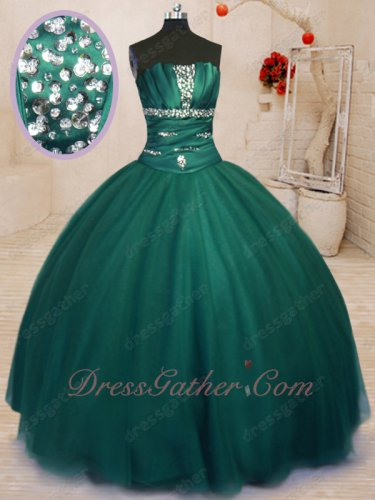 Deep Hunter Green Flat Tulle Skirt Girl Dreamy Simple Quinceanera Ball Gown Affordable