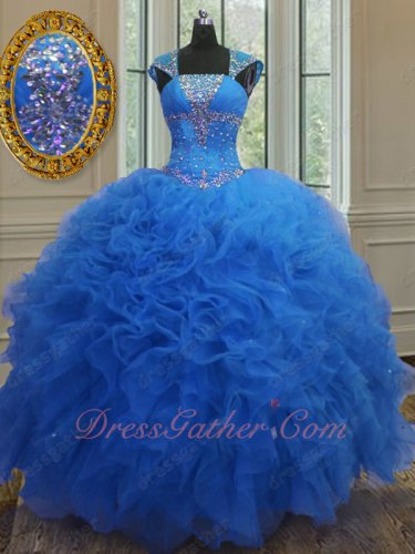 Square Cover Package Shoulder Royal Blue Quinceanera Gown Heart Shaped Cut-Out Back