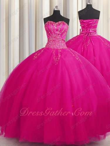Multilayers Gauze Tulles Fuchsia Plain Skirt Quinceanera Ball Gown Special Price