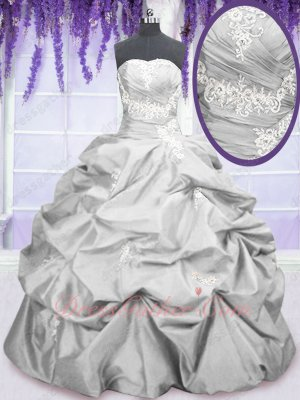 Silver Taffeta Floor Length Bubble Ball Gown Custom-made Quinceanera Dolls Same Style