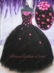Lolita Style Quinceanera Ball Gown Black With Hot Pink 3D Flowers Small and Large