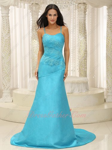 Pretty Spaghetti Strap Aqua Dropped Waist Celebrity Socialite Dresses Court Train