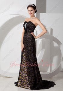 Empire Waist Black Chiffon Slit Printed Florets Pattern Inside Evening Dress