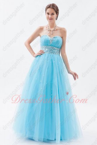 Flattering Aqua Blue Soft Tulle Little Puffy Evening Dress UK