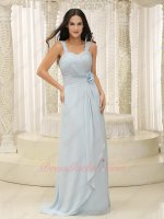 Double Wide Straps Pale Baby Blue Soft Chiffon Elegant Formal Prom Dress Waist Flower