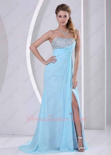 2019 Prom Season Ice Blue Chiffon Left Slit Graceful Party Evening Dress Tailing