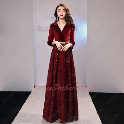 Suit Lapel Long Sleeves Sparkle Brushy Hairy Sequin Skirt Wine Red New Evening Gowns