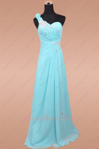 One Shoulder Empire Waist Aqua Chiffon Exclusive Celebrity Party Long Dress