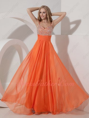 Dual Spaghetti Straps Orange Chiffon Crystals Bodice Pleat Belt Formal Full Prom Dress
