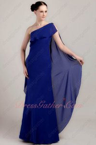 One Shoulder Falbala Neck Royal Blue Chiffon Formal Evening Dress Flowing Drap
