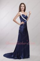 Best Deal Sweep Train Full Prom Dress Navy Blue Silk Satin With White One Straps
