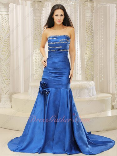 Strapless Dropped Waist Royal Blue Thick Satin Wedding Party Formal Dress Mermaid