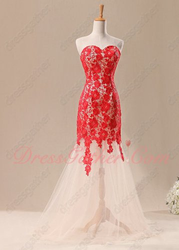 Featured Red Chemical Lace Upper Body Mermaid Champagne Prom Dress Boutique