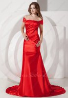 Off Shoulder Scarlet Acetate Satin Trumpet Formal Party Gown Attire