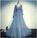 V Neck Long Sleeves Dark Haze Sky Blue Layers Soft Tulle Prom Evening Gowns Club
