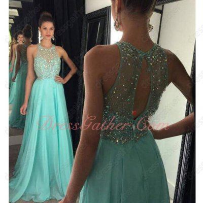 Flaring Crystals Floor-length Mint Apple Green Rite Dress Back Cut Out
