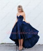 Navy Blue High Low Puffy Private Party Leisure Dress Without Sleeves
