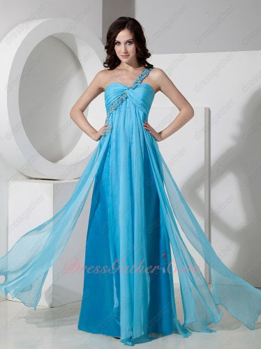 2019 One Shoulder Floor-length Aqua Blue Chiffon Prom Formal Dress Flowing