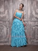 Aqua Blue Cascade Chiffon Ruffles Prom Queen Formal Dancing Dress Flowing