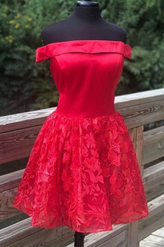 Off Shoulder Knee Length Satin and Floral Lace Cocktail Dress Beautiful