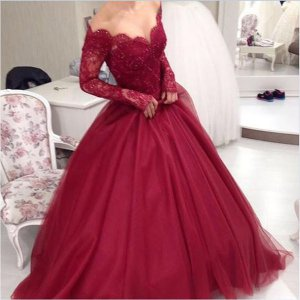 Designer Sheer Nude Tulle Long Sleeves Wine Red Not Puffy Quinceanera Ball Gown
