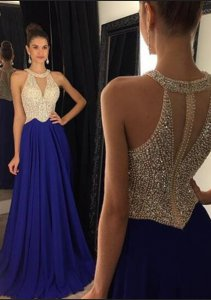 Designer Scoop V-Shaped Hollow Out Nude and Royal Blue Formal Evening Gowns With Beading