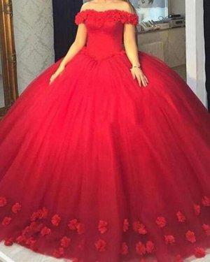 Fluffy Off Shoulder Handmade 3D Flowers Scattered Puffy Quinceanera Dress in Red