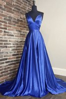Spaghetti Strap Deep Sweetheart Defined Waist Design Evening Gown Royal Blue